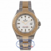 Rolex Yachtmaster 18K Yellow Gold Stainless Steel Oyster Bracelet White Dial 16623 6JWQJV - Beverly Hills Watch Company