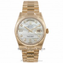 Rolex Day-Date President Bracelet 18K Yellow Gold Fluted Bezel Mother of Pearl Diamond Dial 118238 7MFNHK - Beverly Hills Watch Company Watch Store