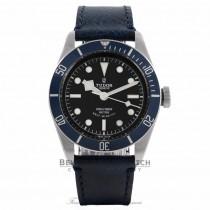 Tudor Heritage Black Bay 41MM Stainless Steel Matte Blue Disc Bezel Black Dial Blue Leather Strap 79220B 0WMQXR - Beverly Hills Watch Company Watch Store