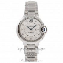 Cartier Ballon Bleu 33MM Silver Diamond Dial Stainless Steel Automatic WE902074 VT1E9R - Beverly Hills Watch Company Watch Store