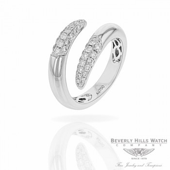 Naira & C 18k White Gold Crossover Diamonds Ring RD-R256-3286/R E912UE - Beverly Hills Jewelry Store