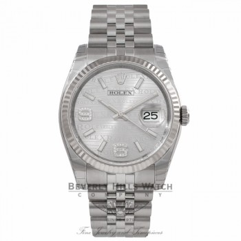 Rolex Datejust 36MM Stainless Steel 18k White Gold Fluted Bezel Silver Wave Jubilee Dial 116234 4FKTH8 - Beverly Hills Watch Company Watch Store