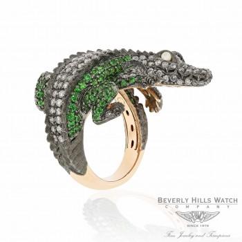 18k Rose Gold Alligator Catseye Silver Diamond Tsavorites Ring UXQ47F - Beverly Hills Watch