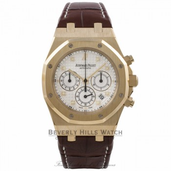 Audemars Piguet Royal Oak Chronograph 40MM 18k Yellow Gold Silver Dial Brown Alligator Strap 26022BA.OO.D088CR.01 AK50TY - Beverly Hills Watch Company Watch Store