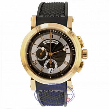 Breguet Marine Chronograph 18k Rose Gold Black Dial Rubber Strap 5827BR/Z2/5ZU KU296D
