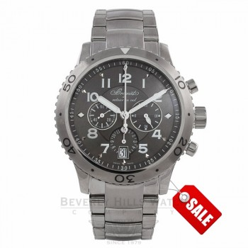 Breguet Transatlantique Type XXI Flyback Stainless Steel Ruthenium Dial 3810ST92SZ9 - Beverly Hills Watch Store