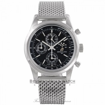 Breitling Transocean Chronograph 1461 Stainless Steel Black Dial A1931012/BB68 - Beverly Hills Watch Company Watch Store