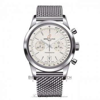 Breitling Transocean Chronograph 38 Stainless Steel Silver Dial A4131012/G757 17FWX5 - Beverly Hills Watch Company
