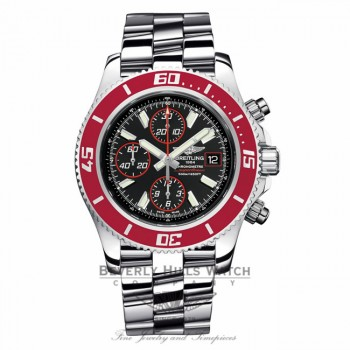 Breitling Aeromarine Superocean Chronograph II Limited Edition Stainless Steel Red Bezel A13341X9/BA81 CBUBFK - Beverly Hills Watch Company Watch Store