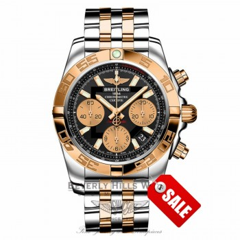 Breitling Chronomat 41 Automatic Black Dial 18k Rose Gold Stainless Steel CB014012/BA53 UB4Y16 - Beverly Hills Watch Company Watch Store