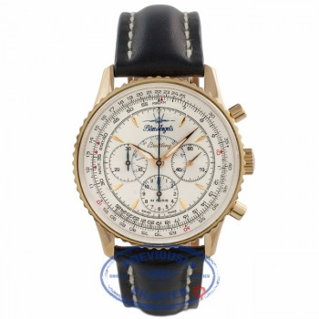Breitling Navitimer Montbrilliant Blue Angels 38MM 18k Rose Gold Silver Dial H30030.1 EX4JNK - Beverly Hills Watch Company Watch Store