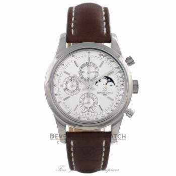 Breitling Transocean Chronograph 1461 Stainless Steel Silver Dial A1931012/G750 R8HH2C - Beverly Hills Watch Company Watch Store