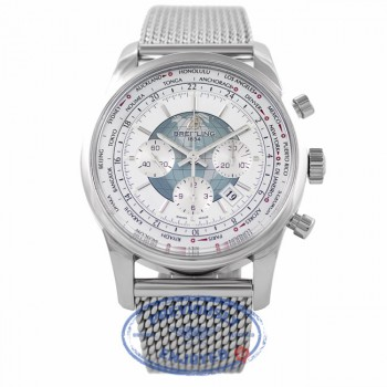 Breitling Transocean Unitime Chronograph Silver Dial Steel Mesh Bracelet AB0510UO/A732-SS J6H2JC - Beverly Hills Watch Company Watch Store
