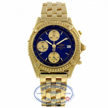 Breitling Windrider chronomat 40mm Customized Blue Dial Gold Sub-Dials K13048 4U2Z3W - Beverly Hills Watch Company