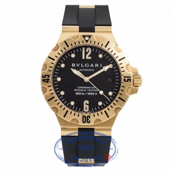 Bulgari Scuba Yellow Gold Case Rubber Strap Deployment Buckle Black Dial Automatic Watch SD40G Beverly Hills Watch Company