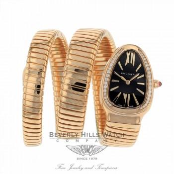Bulgari Serpenti Rose Gold Double Tubogas Bracelet Black Dial Diamond Bezel 35mm 101814 SPP35BGDG.2T F4R1LJ - Beverly Hills Watch Company