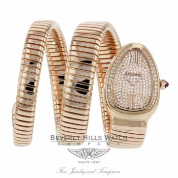 Bulgari Serpenti Tubogas 18k Pink Gold Diamond Pave Dial Quartz SPP35D2GDG.2T 8W0QCP - Beverly Hills Watch Company