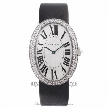 Cartier Baignoire Large White Gold Diamond Bezel Silver Dial Black Satin Strap WB520009 1EDWU7 - Beverly Hills Watch Store