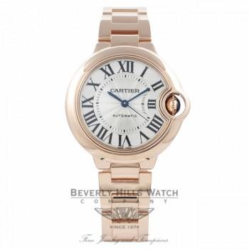 Cartier Ballon Bleu 33MM 18k Rose Gold Silver Dial W6920068 R5NZPA - Beverly Hills Watch Company Watch Store
