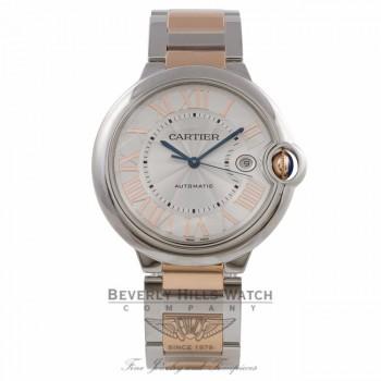 Cartier Ballon Bleu 42MM 18k Rose Gold Stainless Steel Silver Dial Bracelet W6920095 W75EY4 - Beverly Hills Watch Company Watch Store