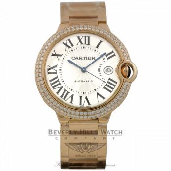 Cartier Ballon Bleu 42mm Rose Gold Diamond Bezel Rose Gold Bracelet WE9008Z3 JFLH4P - Beverly Hills Watch Company