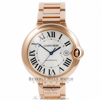 Cartier Ballon Bleu 18k Rose Gold Automatic Large Silver Dial W69006Z2 DJCNT4 - Beverly Hills Watch Company Watch Store