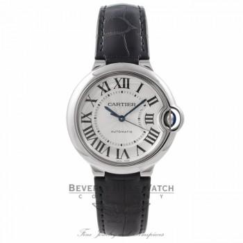 Cartier Ballon Bleu 36MM Stainless Steel Automatic Silver Dial Black Alligator Strap W69017Z4 QJZ144 - Beverly Hills Watch Store