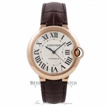 Cartier Ballon Bleu Medium 18k Rose Gold Silver Dial W6900456 HG6VQD - Beverly Hills Watch Company Watch Store