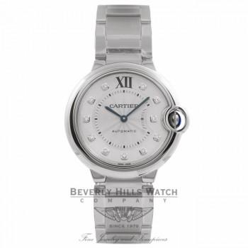 Cartier Ballon Bleu Silver Diamond Dial Stainless Steel WE902075 7380D1 - Beverly Hills Watch Store