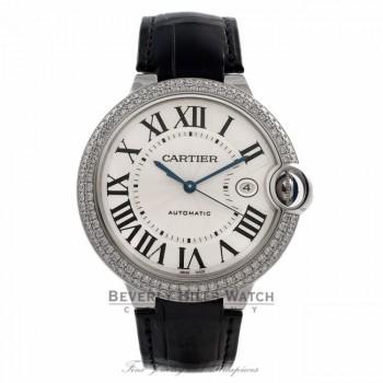 Cartier Ballon Bleu 18K White Gold Case Diamond Bezel Alligator Strap Silver Roman Dial Watch WE00951 Beverly Hills Watch Company Watches