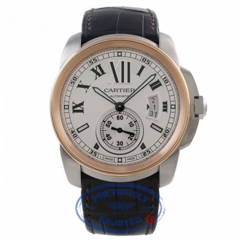 Cartier Calibre 42MM 18k Rose Gold Stainless Steel silver Dial W7100039 U6V4N9 - Beverly Hills Watch Company Watch Store