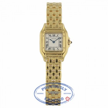 Cartier Panther Small 22mm 18k Yellow Gold White Dial Panther NQW8EM - Beverly Hills Watch Company