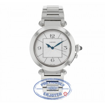 Cartier Pasha 42MM 18k White Gold Automatic Silver Dial W30187M9 RZ80KK - Beverly Hills Watch