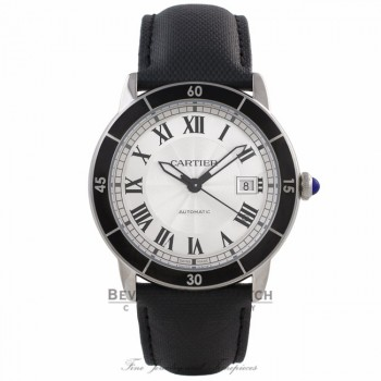 Cartier Ronde Croisiere 42MM Silver Dial Black Leather Strap WSRN0002 5Z4QAP - Beverly Hills Watch Company Watch Store