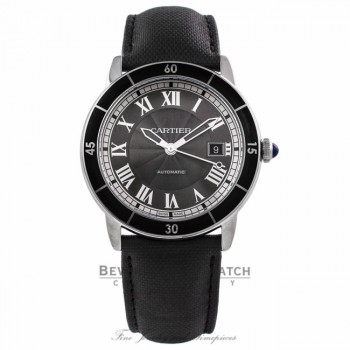 Cartier Ronde Croisiere 42MM Grey Dial Black Leather Strap WSRN0003 TLMAKQ - Beverly Hills Watch Company