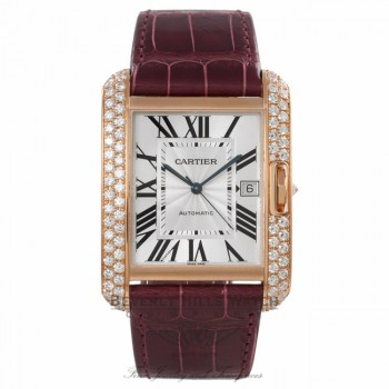 Cartier Tank Anglaise 36.2MM XL 18k Rose Gold Diamond Case Silver Dial Claret Red Alligator Strap WT100021 QQ5YKP - Beverly Hills Watch Company Watch Store