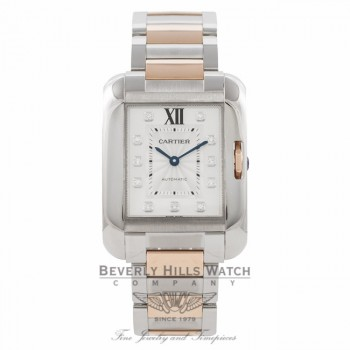 Cartier Tank Anglaise Large 18k Rose Gold Stainless Steel Diamond Markings WT100025 3BG26Q - Beverly Hills Watch Company Watch Store