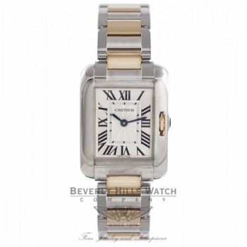 Cartier Tank Anglaise Silver Dial Stainless Steel 18k Yellow Gold W5310046 MP4EZI - Beverly Hills Watch Company Watch Store