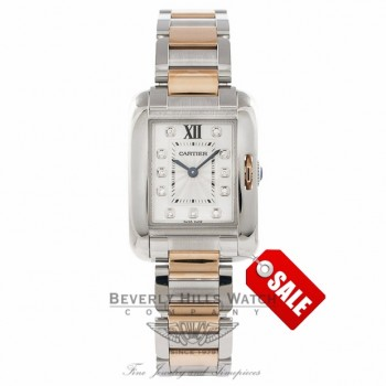 Cartier Tank Anglaise Small 18K Rose Gold Stainless Steel Silver Diamond Dial WT100024 EHFLN3 - Beverly Hills Watch Company Watch Store