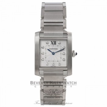 Cartier Tank Francaise Medium Stainless Steel Silver Diamond Dial WE110007 00W4NW - Beverly Hills Watch Company Watch Store