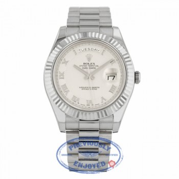 Rolex Day-Date II 18K White Gold Ivory Concentric Roman Dial Fluted Bezel 218239 - Beverly Hills Watch