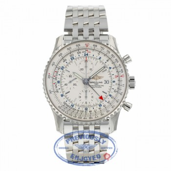 Breitling Navitimer World Stainless Steel Silver Dial A2432212/G571 - Beverly Hills Watch