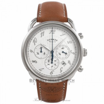 Hermes Arceau Chronograph Stainless Steel Silver Dial Leather Strap 038694WW00 MQK29M - Beverly Hills Watch Company Watch Store