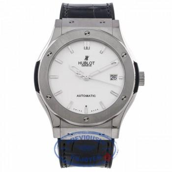 Hublot Classic Fusion 45MM Titanium Silver Dial Black Strap 511.NX.2610.LR FQ9158 - Beverly Hills Watch Company Watch Store