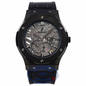 Hublot Classic Fusion Ultra Thin 45MM Ceramic Titanium Skeleton Dial Black Alligator Rubber Strap 515.CM.0140.LR E5JWH7 - Beverly Hills Watch Company Watch Store