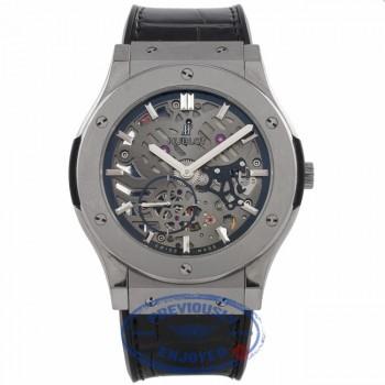 Hublot Classic Fusion Ultra Thin Skeleton Dial Titanium Black Alligator Strap 515.NX.0170.LR 5AP5QY - Beverly Hills Watch Company Watch Store