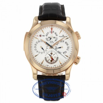 Jaeger LeCoultre Master Grand Reveil 18k Rose Gold Silver Dial Alligator Strap 163.24.2a 149.2.95 X1H4P9 - Beverly Hills Watch Company