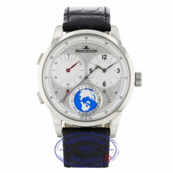 Jaeger LeCoultre 42mm 18K White Gold Duometre Unique Travel Time Q6063540 KQ1ZD1 - Beverly Hills Watch