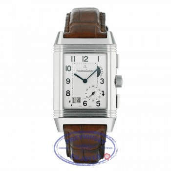 Jaeger LeCoultre Reverso Grande GMT Reserve Stainless Steel Alligator Strap Manual Wind 240.8.818 YXVY8Q - Beverly Hills Watch