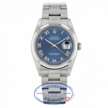 Rolex Datejust 36mm Blue Roman Dial Oyster Bracelet 116200 - Beverly Hills Watch